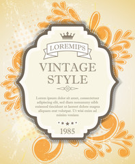 Vintage label with ribbon and floral
