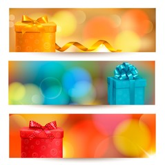Retro holiday background with blue gift ribbon with gift boxes.