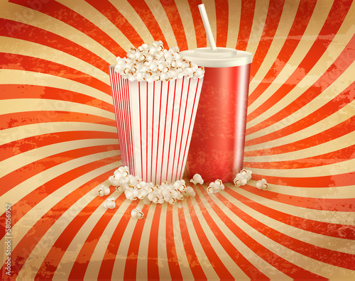Retro background with Popcorn and a drink. Vector illustration