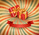 Fototapety Set of beautiful gift cards with red gift bows with ribbons Vect