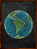Green blue Earth on Blackboard