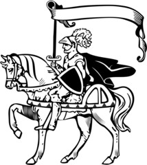 Knight holding a banner