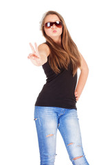 Teenage Girl with Sunglasses showing V-Sign