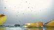 Orange splashing into water, slow motion