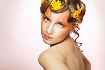 woman with orange artistic visage