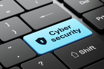 Security concept: Shield Keyhole Cyber Security on keyboard