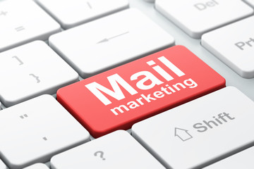Marketing concept: Mail Marketing on keyboard background