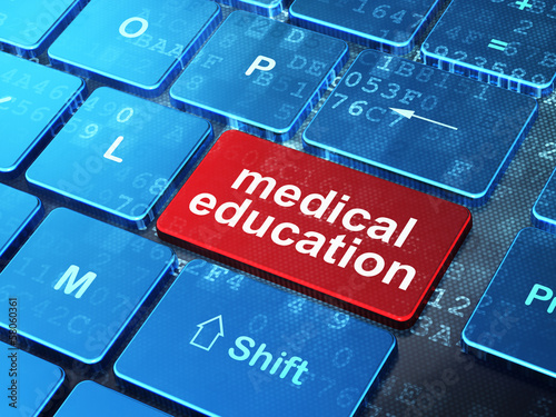 Education concept: Medical Education on keyboard background
