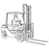 Forklift outline vector - 58061967