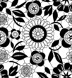 Black lace crochet flowers on white seamless pattern, vector