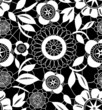 White lace crochet flowers on black seamless pattern, vector