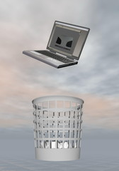 Laptop to rubbish - 3D render