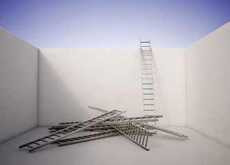 Ladder reaching over the wall
