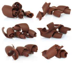 Chocolate shavings set on white background .
