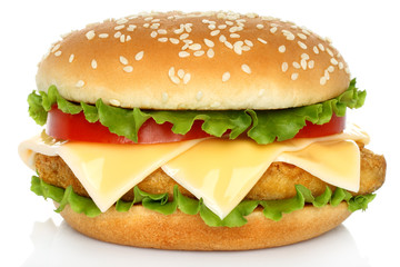 Big chicken hamburger on white background .