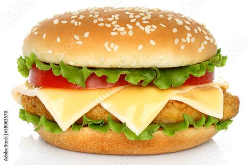 Deurstickers Klaar gerecht Big chicken hamburger on white background .