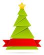 Grüner Weihnachtsbaum mit Banner