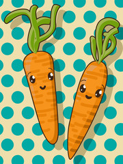 Kawaii carrot icons