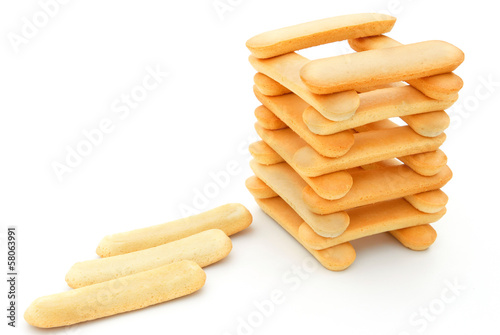 biscuit sticks stack up on white