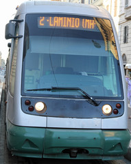 modern trams in the city of Rome flaminio station catch one of t