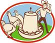Chicken Farmer Feeder Cartoon