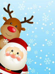 Cute Santa with funny deer