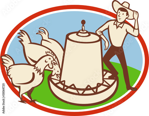 Chicken Farmer Feeder Cartoon
