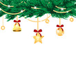 christmas background.golden christmas tree decorations isolated