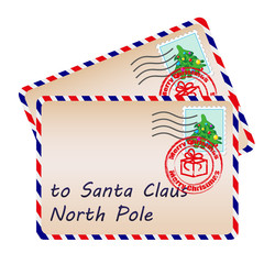 Two letters to Santa Claus with stamps and postage marks