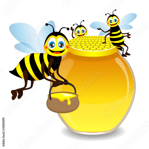 Jar with honey and funny bees, vector