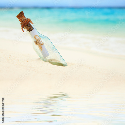 A letter in a bottle on the beach
