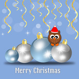 Merry christmas card with balls and owl