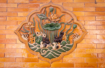 tiled wall decoration in Forbidden City, Beijing, China