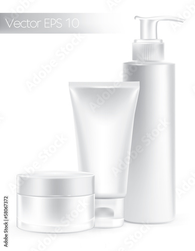 Composition of packaging containers white color, cream.
