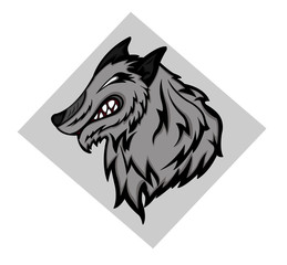 Wild Grey Wolf Mascot Head Cartoon Vector Graphic