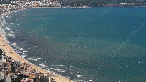 Palma de Mallorca,  city and beach aerial shot