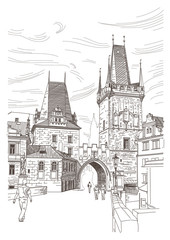 A view of the bridge tower at the end of the Charles Bridge, Pra