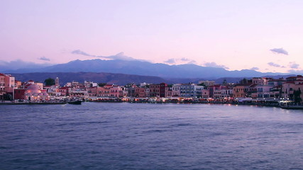 Chania embankment in the evening on Crete, Greece.