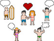 pixel-art beach people set 3