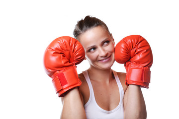 beautiful smiling woman with the red boxing gloves, isolated on
