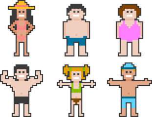 pixel-art beach people set 2