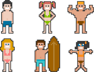 pixel-art beach people set 1
