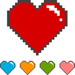 pixel heart with color versions