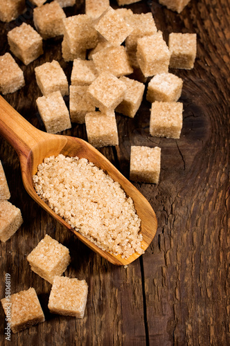 brown cane sugar cubes and granules