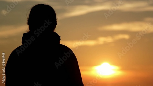 girl silhouette at dawn (close-up)