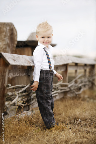 little cute boy portirat on location