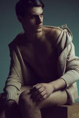 Male high fashion concept. Portrait of a handsome male model