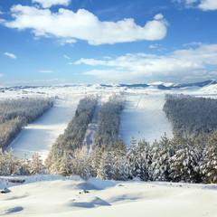 Ski slopes in the ski center
