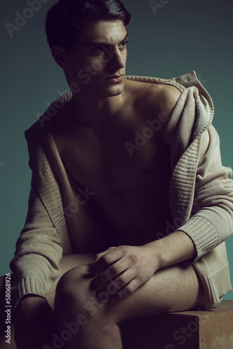Male high fashion concept. Portrait of a handsome male model