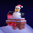 Santa Penguin squeezes down the chimney